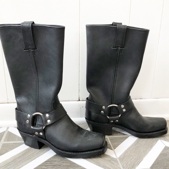 Frye Shoes - Frye Harness Black Leather Boots